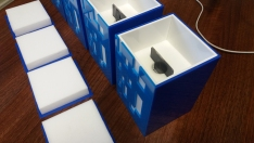 Blue & White patterned secure boxes for customers product
