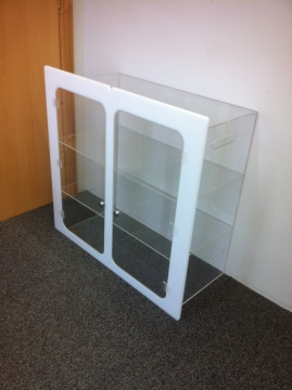 Lockable Wall Mounted Display Cabinet With Shelving 2