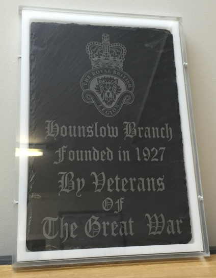 Clear Perspex Frame with White Backing donated to the Royal British Legion to hold slate donated to celebrate 90 years.